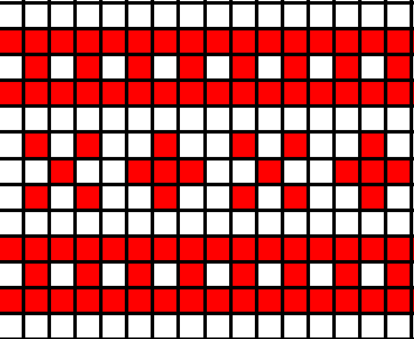 This pattern will repeat about 4.5 times.  Your band will start and end with the 'X' shape.