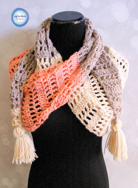 Strawberry Patch Convertible Scarf Free Crochet Pattern Left In