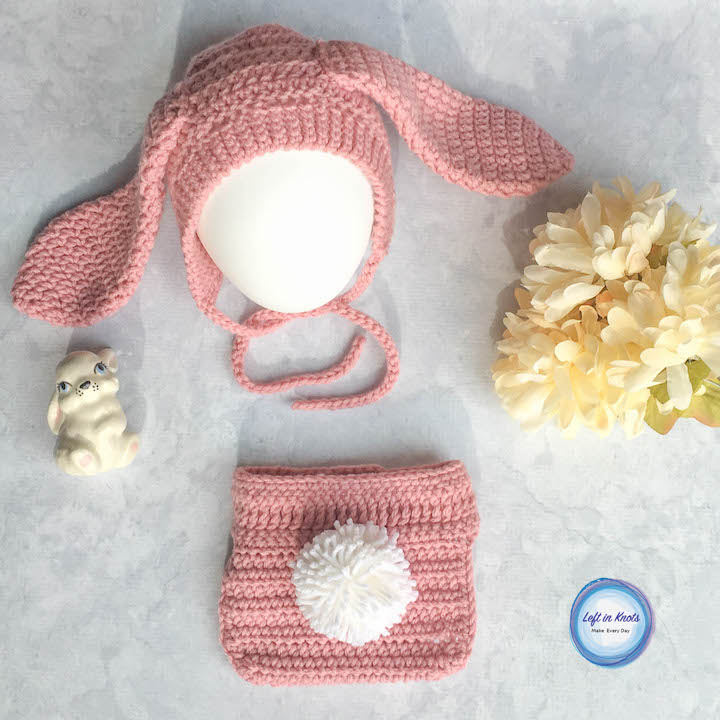 Baby Bunny Bonnet And Diaper Cover Set Free Crochet Pattern Left