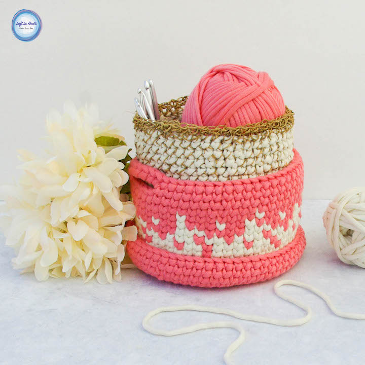 Crochet Desktop Stacker Baskets Free Pattern Left In Knots