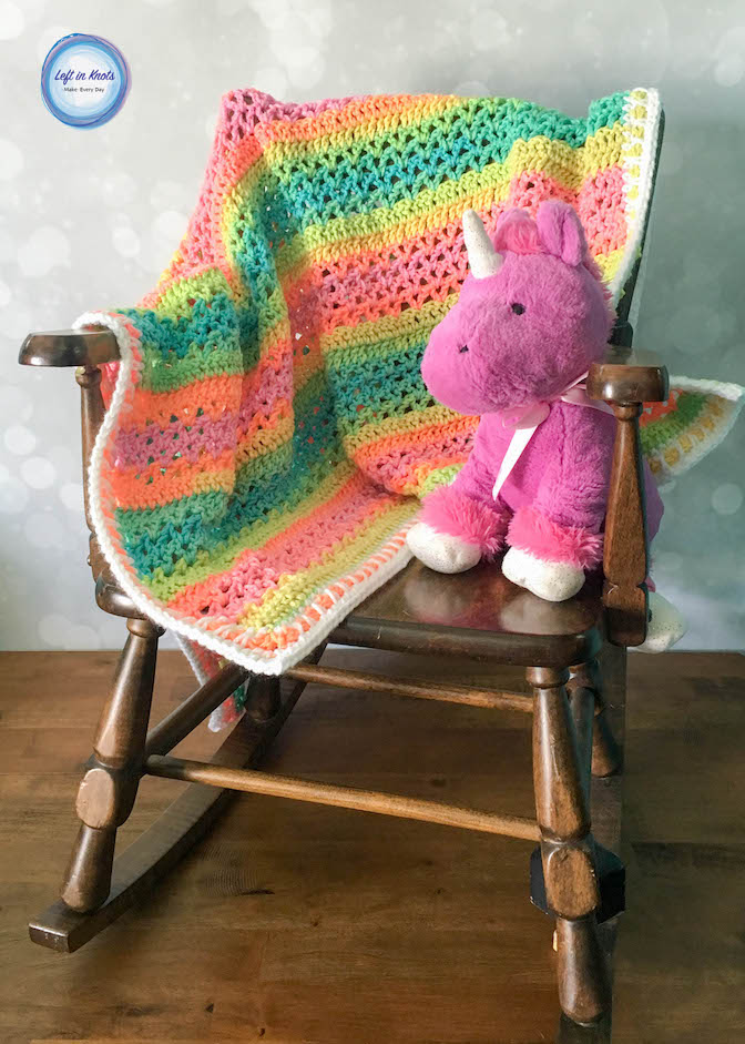 The Unicorn Stripes Baby Blanket gives you all the colors of the rainbow without a bunch of ends to weave in! Just use the new Red Heart Super Saver Stripes to make this simple and colorful blanket! This pattern is beginner friendly and includes tips for adjusting the size.