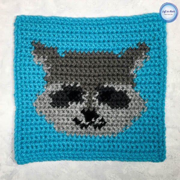 Grids For Kids Forest Friends Crochet Raccoon Square Left In Knots
