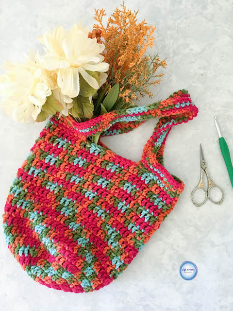 Crochet Mini Market Bag Free One Skein Pattern Left In Knots