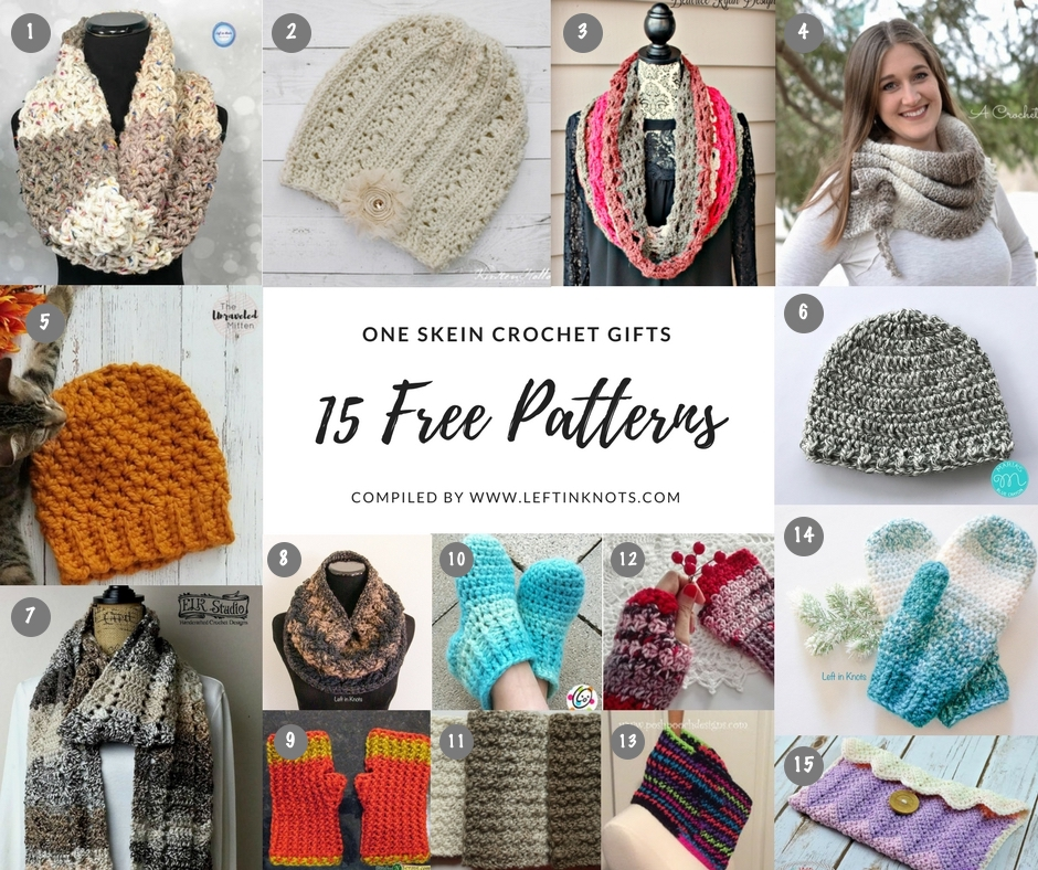 One Skein Crochet Gifts - 15 Free Patterns — Left in Knots 13b17295e4b2
