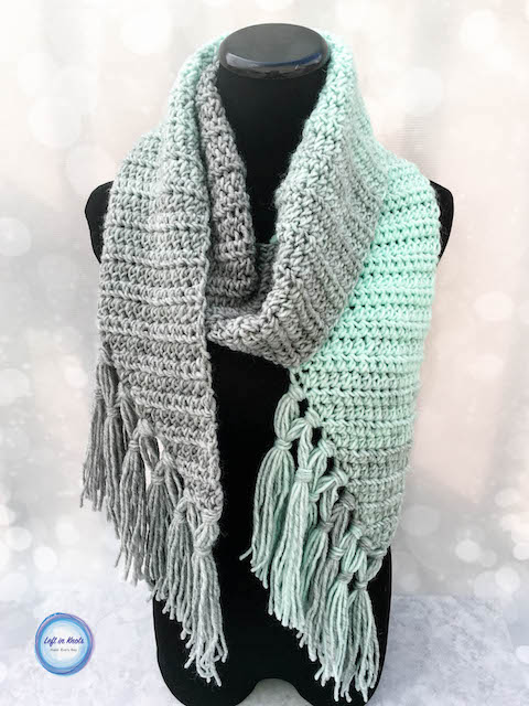 The Mint-cicle Scarf is a free, beginner-friendly crochet pattern with a modern twist.  It takes just one skein of Lion Brand Scarfie yarn and it will be a perfect addition to your last-minute gift list this holiday season!  It is the first free crochet pattern of my Seven Days of Scarfie pattern collection.