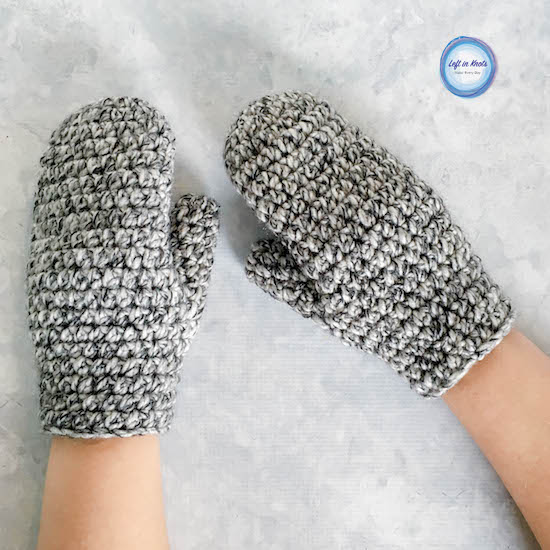 This fast and modern crochet pattern will show you how to crochet Women's Basic Bulky Mittens.  This free crochet pattern is beginner friendly, and these mittens make a great project for yourself, gifts or as a charity donation.  All you need is some bulky acrylic yarn and a 6.0mm crochet hook!