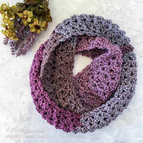 Frosted Berry Infinity Scarf Free Crochet Pattern — Left in Knots
