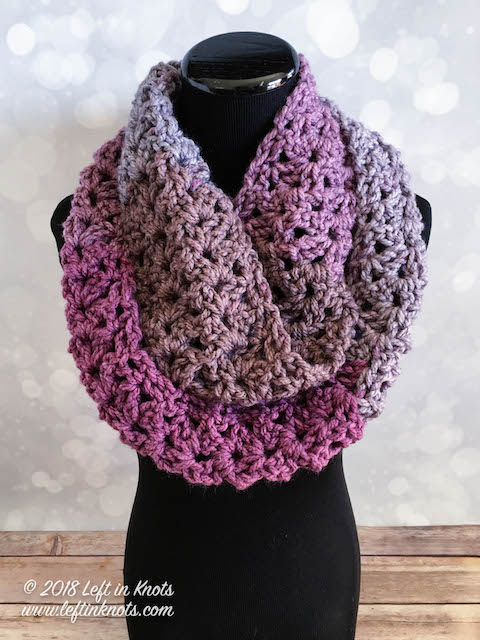 Frosted Berry Infinity Scarf Free Crochet Pattern Left