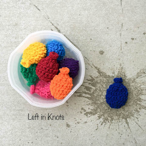 Need a fun, fast and inexpensive way to keep the kids busy this summer? Make a set of these reusable water balloons in a day for a summer full of fun! Crochet this set of water balloons in the time it would take you to fill regular balloons with water. A quick project that is reusable, eco-friendly, and latex-free!