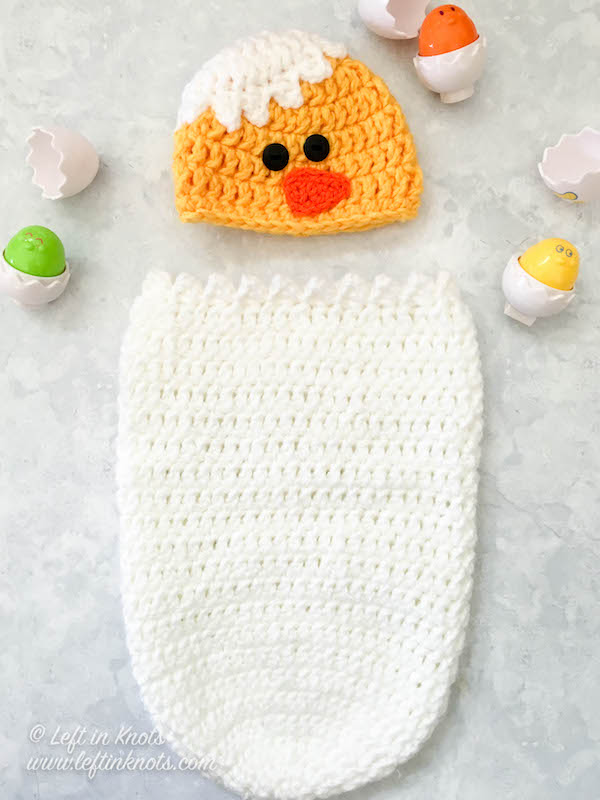 Baby Chick Infant Hat And Cocoon Photo Prop Free Crochet Pattern