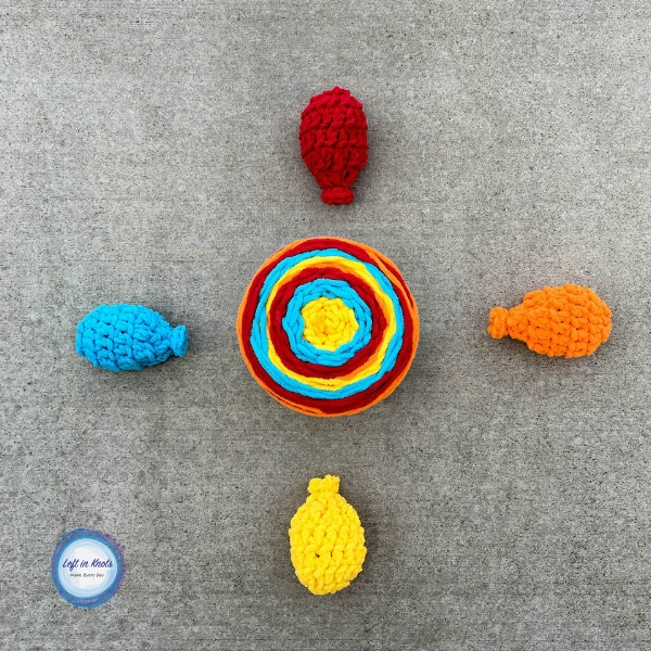 Crochet Water Balloons Using Bernat Blanket Stripes ? Left ...