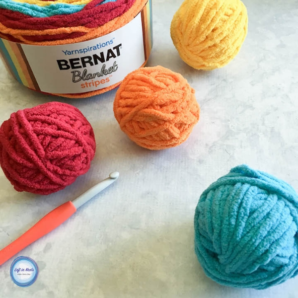 Crochet Water Balloons Using Bernat Blanket Stripes Left In Knots