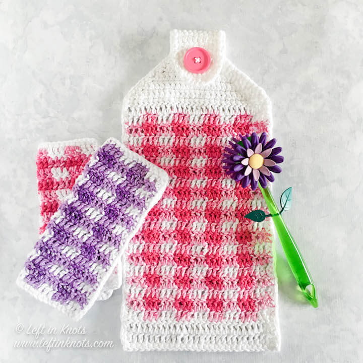 This colorful gingham hand towel is a perfect way to update your decor for spring and summer!  Plus they are the perfect complement to my Spring Gingham Dishcloths that I designed a few weeks ago. I even have a right AND left handed video tutorial to help you learn how to change colors seamlessly and carry your colors throughout the project.  Keep reading for the free crochet pattern for the Spring Gingham Hand Towel - a perfect Mother's Day gift or inventory for summer craft fairs.