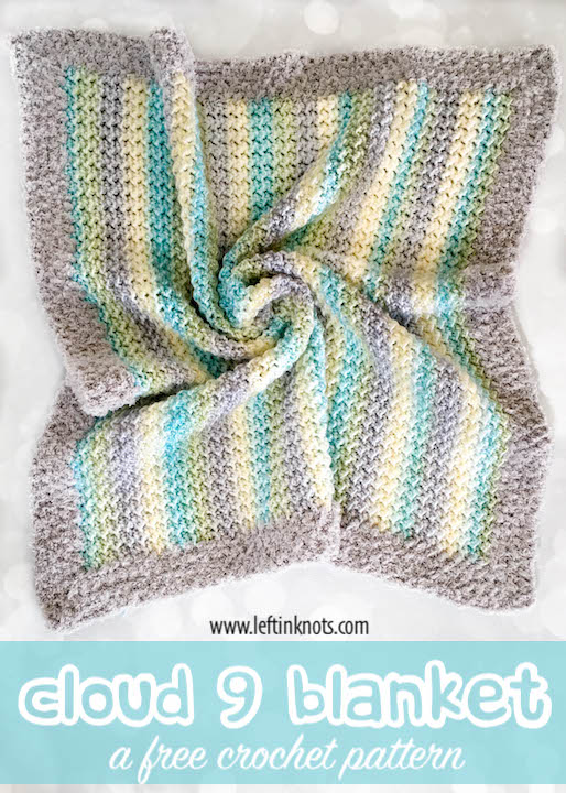 This free crochet pattern uses the crunch stitch and the fuzziest yarn to make a fluffly cloud blanket you will want to snuggle forever. The Cloud 9 blanket makes a beautiful baby blanket, but can also be easily resized for larger throws and afghans. You'll want to make one for everyone in your family!