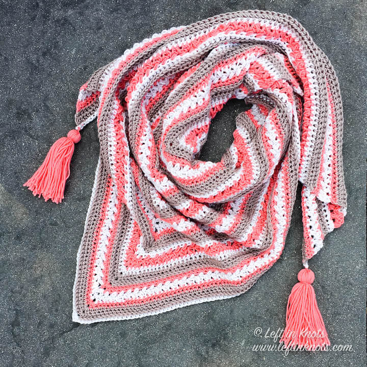 Breckenridge Wrap Free Triangle Shawl Crochet Pattern Left In Knots