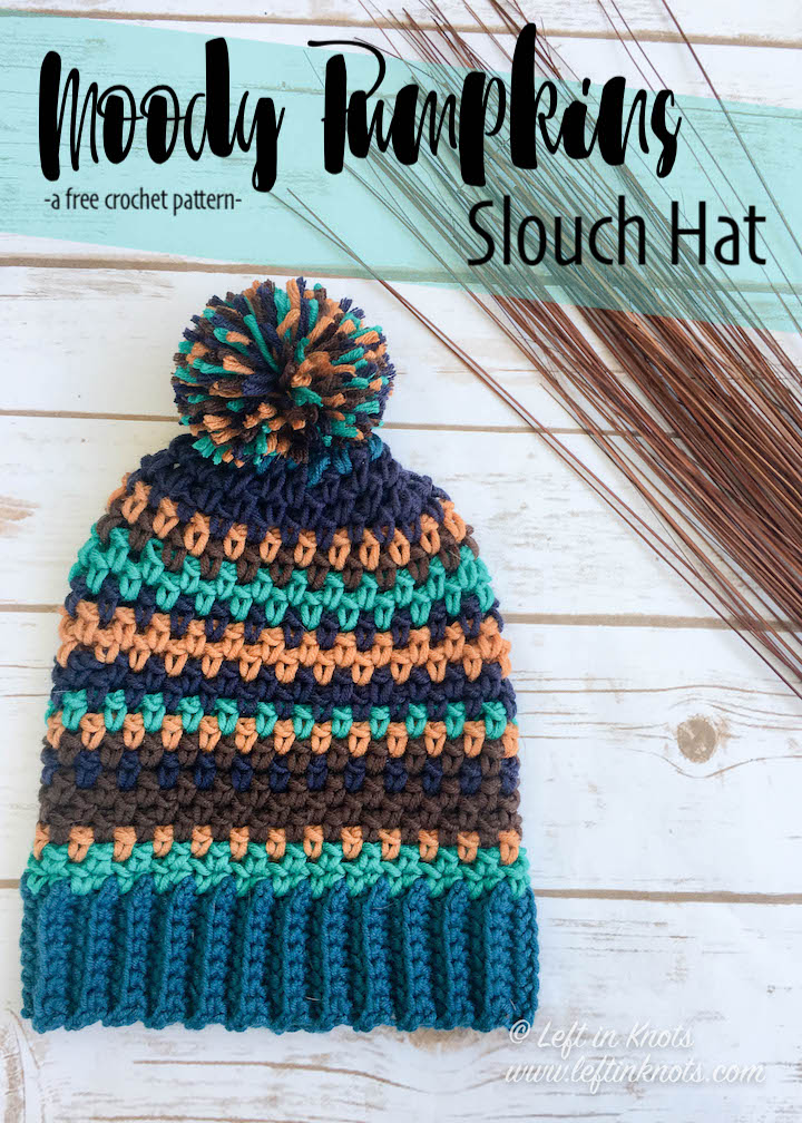 This hat combines the simple moss stitch with random striping to create an eye catching piece you won't want to be without this fall! The Moody Pumpkins Slouch Hat uses Yarnspirations Caron x Pantone yarn and is a free crochet pattern available on leftinknots.com