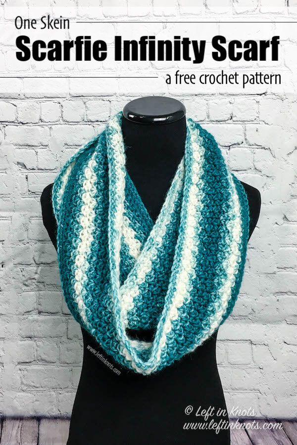 Crochet Snowball Infinity Scarf Free One Skein Scarfie Pattern