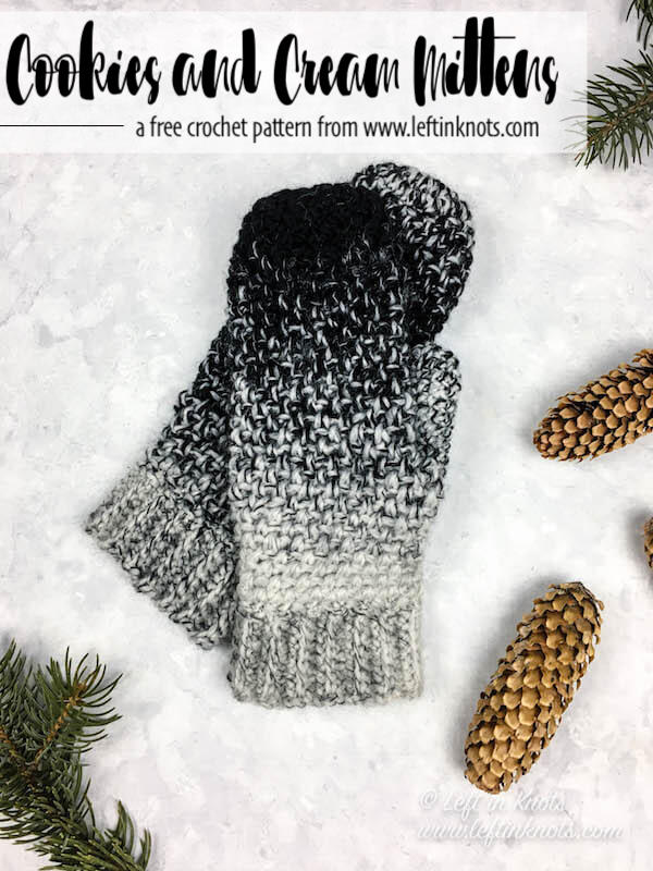 Seven Days of Scarfie Day 2 is here! Over 7 days I will release 7 free crochet patterns, all of which will use one skein or LESS of Lion Brand Scarfie yarn. These patterns will be your DIY inspiration to finish up your holiday gifts! Today's pattern is the Cookies and Cream Mittens; designed to match a cowl and slouchy hat pattern already available for free on my blog. I hope you enjoy today's free pattern!