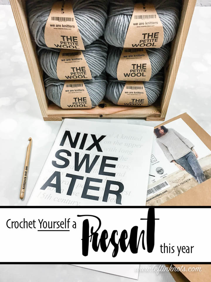 We Are Knitters sent me one of their highly coveted crochet kits for the stunning Nix Sweater for me to show you their HUGE 30% off sale! They also want to share a kit with one of my lucky readers! So if you have ever been wanting to try 100% Peruvian Highland Wool yarn that is modern, high-end, AND sustainable, you're going to want to keep reading for your chance to shop this incredible sale and enter this generous giveaway giveaway! Open to US and Canada Residents 11/24/18 to 12/2/18 at 12AM CST.