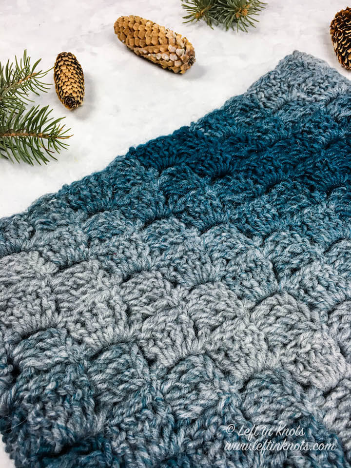 Seven Days of Scarfie Day 2 is here! Over 7 days I will release 7 free crochet patterns, all of which will use one skein or LESS of Lion Brand Scarfie yarn. These patterns will be your DIY inspiration to finish up your holiday gifts! Today's pattern is the Glacial Cowl; designed to show off the truly wonderful squishiness of Scarfie yarn with an over-sized C2C stitch. I hope you enjoy today's free pattern!