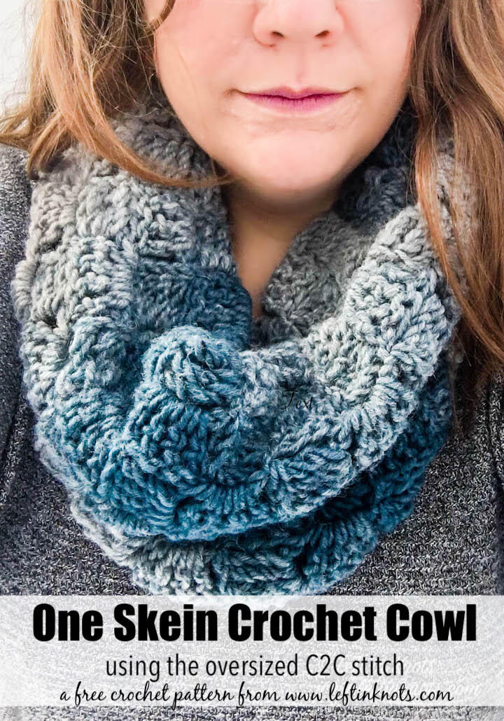 Crochet Glacial Cowl Free One Skein Scarfie Pattern Left In Knots