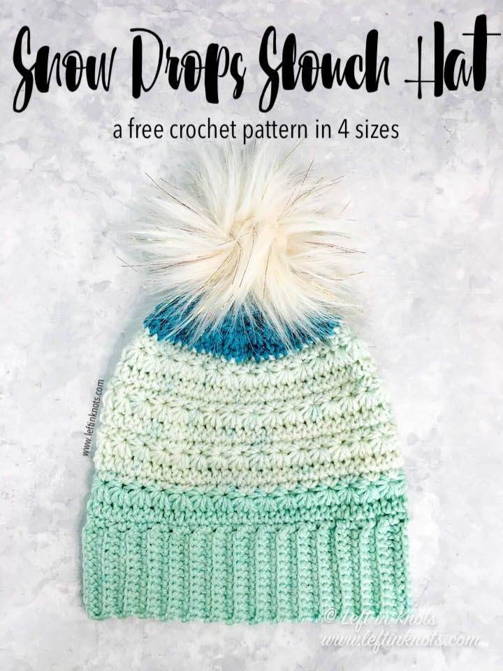 The Snow Drops Slouchy Hat has been one of my most popular free crochet patterns, and now it's available in four different sizes! Make this hat for the whole family sizes baby through adult with less than one skein of Caron Cakes yarn or your favorite worsted weight yarn.