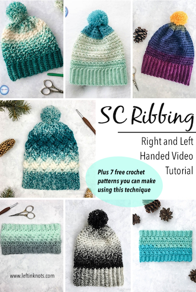 Single Crochet Ribbing Video Tutorial Right And Left Handed Left