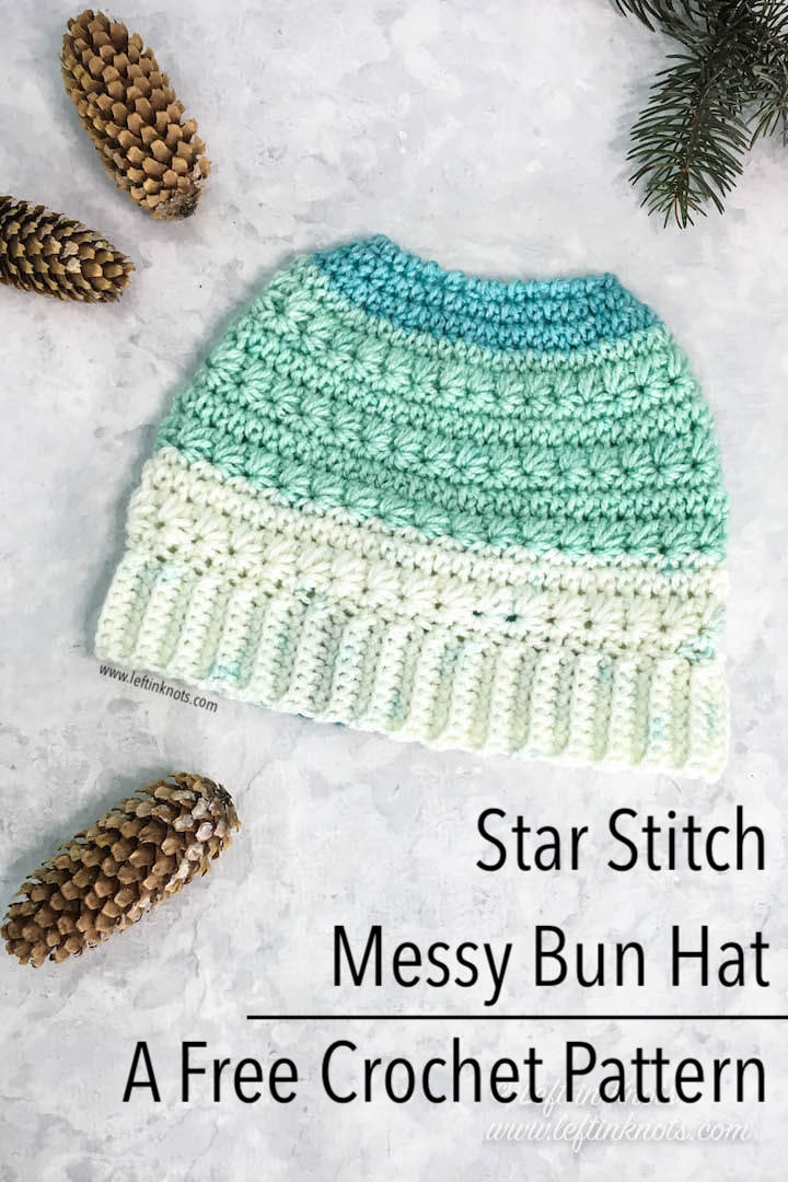Crochet Snow Drops Messy Bun Hat - Free Crochet Pattern — Left in Knots 0c6b6b8df62