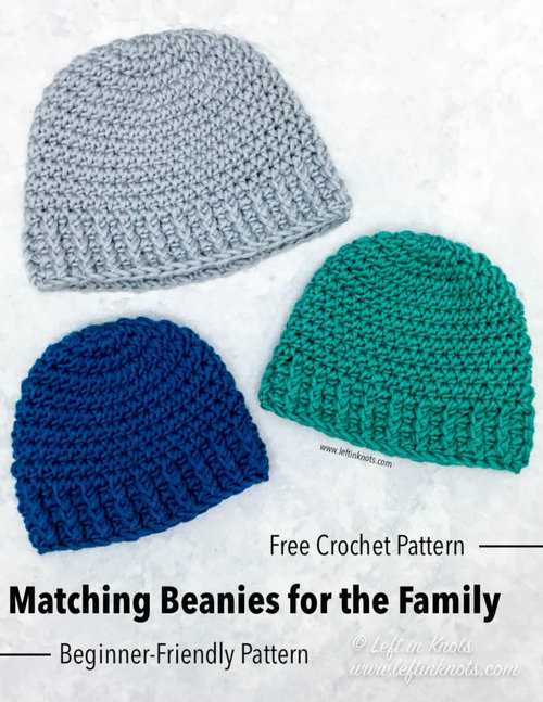 47ba83d2fa Crochet Matching Beanies for the Family with Color Made Easy