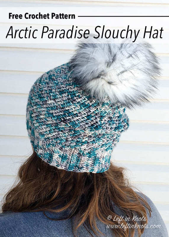 his one skein crochet slouchy hat uses the herringbone HDC stitch in the round to create a stunning texture. This free pattern is easy and fast to make. Use a special skein of hand dyed yarn or any light worsted weight yarn; then top it with a faux fur pom for a modern touch.
