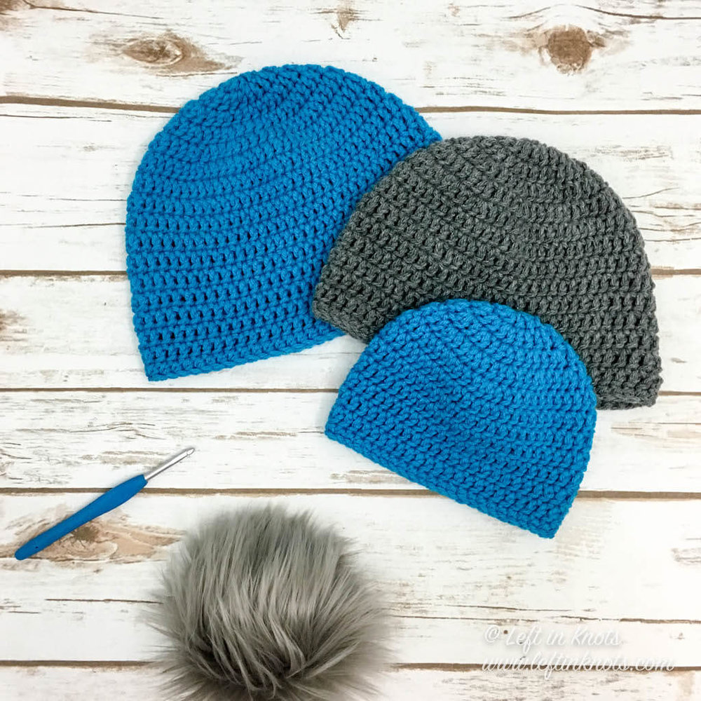 Double Crochet Hat In 10 Sizes Left In Knots