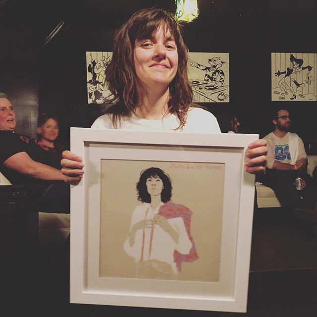 when a of piece art finds the perfect home💕the girls at @grandstand_hq gifted @courtneymelba the amazing patti smith piece by @merylrowin from our sound affects show!