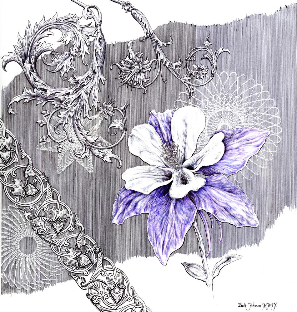 Untitled Floral Pastiche I (Columbine)