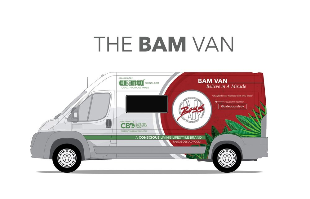 The BAM van sponsored by Elixinol.