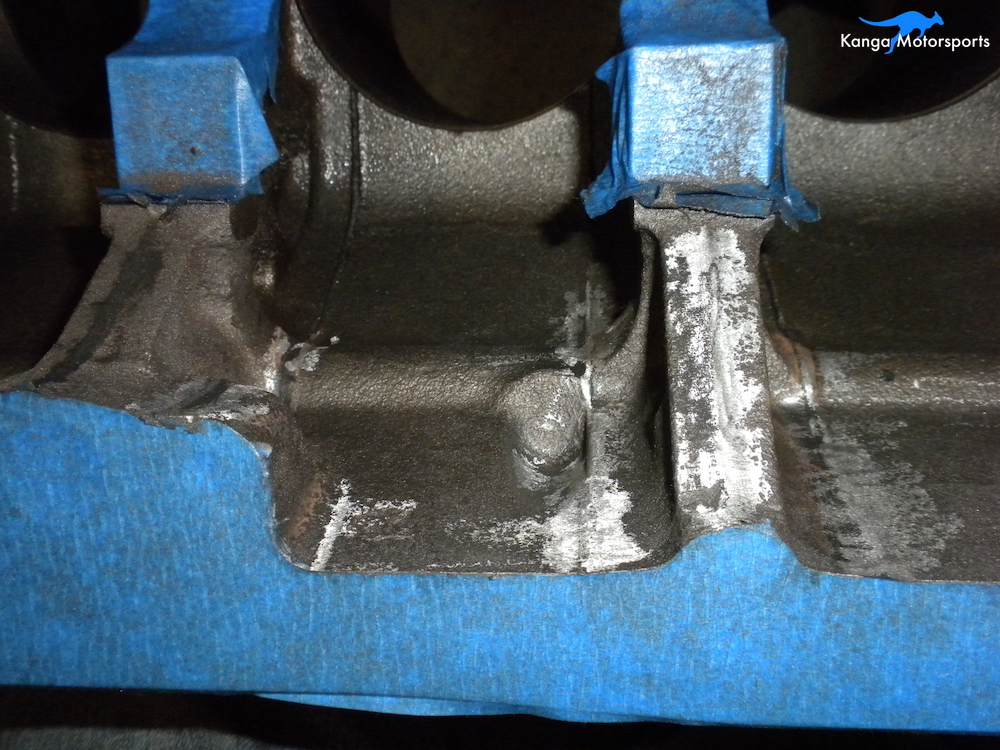 Engine Block Modifications Grind Down the Casting Flash 3.JPG