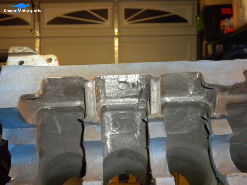 Engine Block Modifications Sanding Down the Casting Finish 6.JPG
