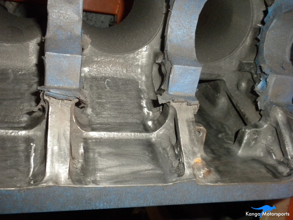 Engine Block Modifications Sanding Down the Casting Finish 4.JPG