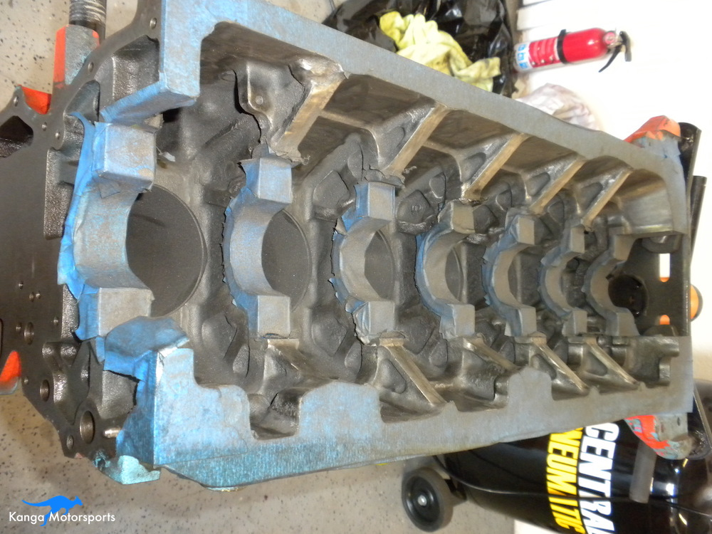 Engine Block Modifications Sanding Down the Casting Finish 3.JPG