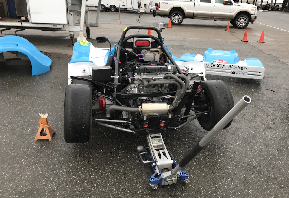 Kanga Motorsports Spec Racer Ford Gen3 SCCA Thunderhill March 2018 Pulling the starter motor in the start of the rain.JPG
