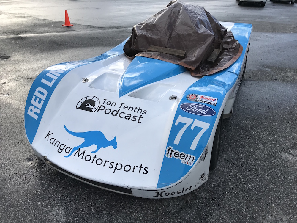 Kanga Motorsports Spec Racer Ford Laguna Seca 2018 Wet Weather Cover Up Qualifying Postponed.JPG