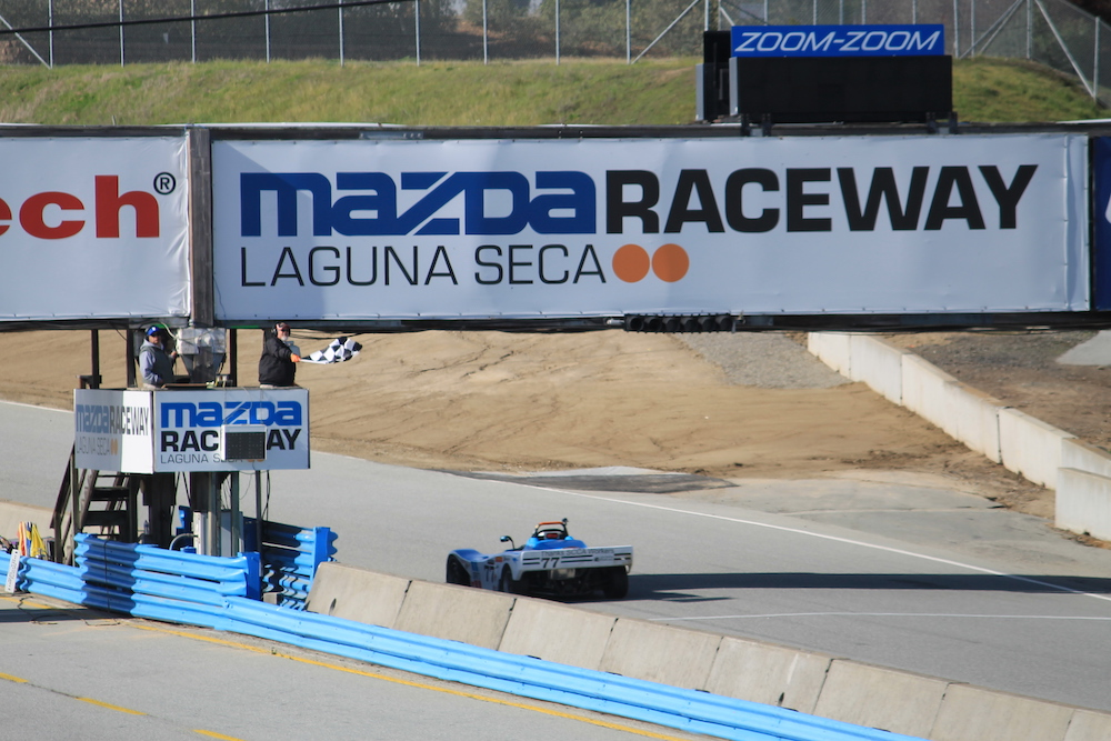 Kanga Motorsports Spec Racer Ford Laguna Seca 2018 Checkered Flag.JPG