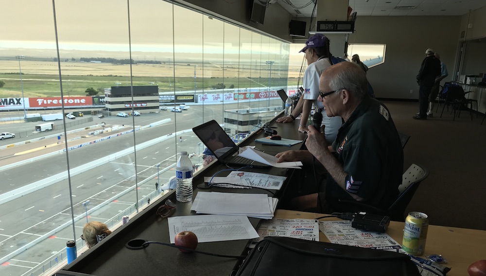 Mike King busy announcing the races.