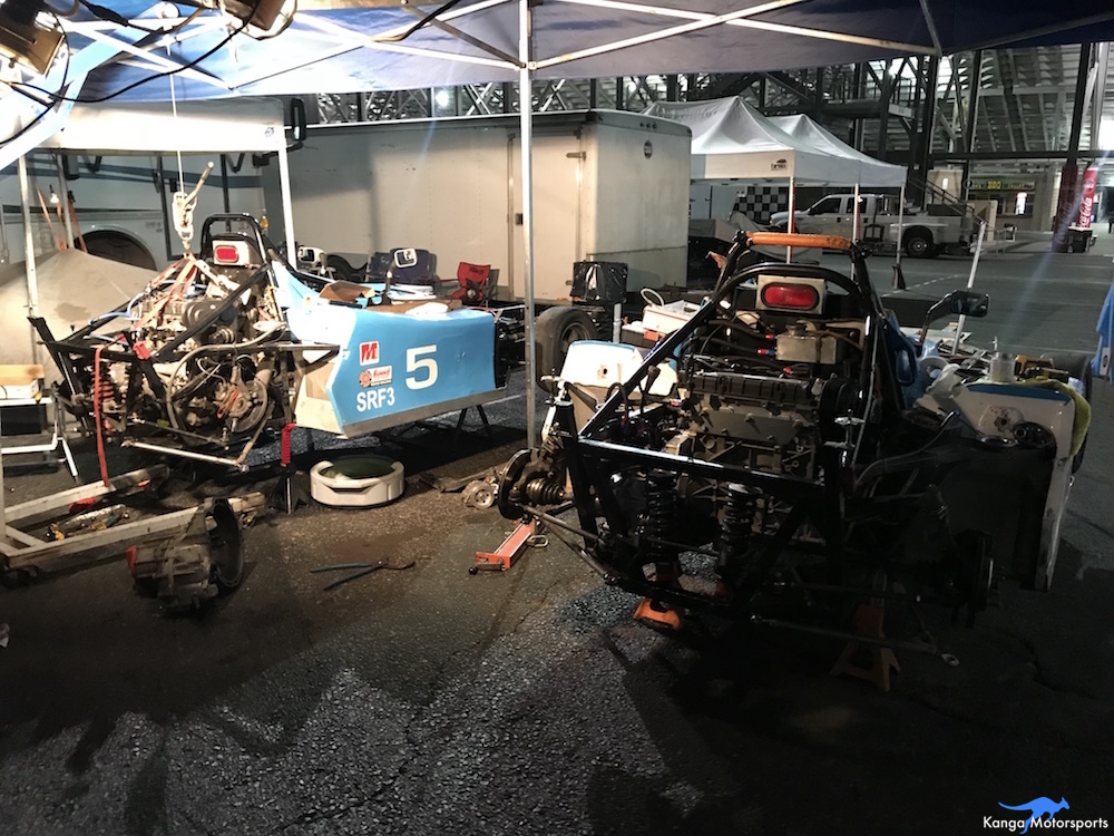 Kanga Motorsports SCCA Runoffs Spec Racer Ford Gen3 Sonoma Raceway Working into the Night.JPG