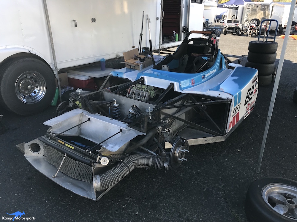 Kanga Motorsports SCCA Runoffs Spec Racer Ford Gen3 Sonoma Raceway Swapping Shoes Between Sessions.JPG