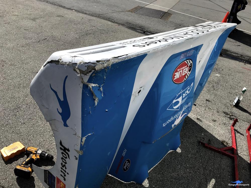 Kanga Motorsports Spec Racer Ford Gen3 WeatherTech Raceway Laguna Seca Damaged Tail.JPG