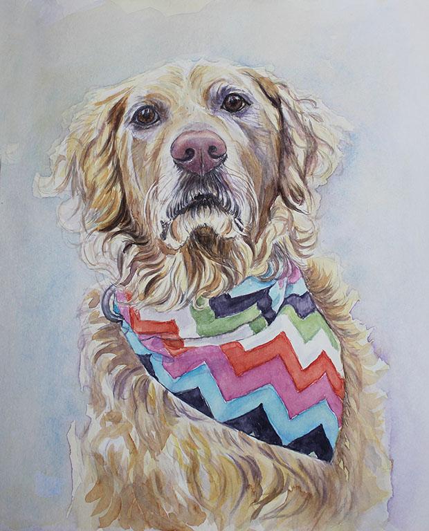 Watercolour painting of Sundae.