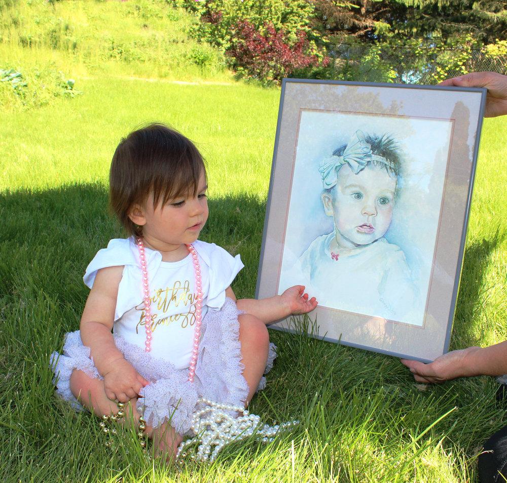 Little Miss P. at age 1. Portrait at age 6 months.