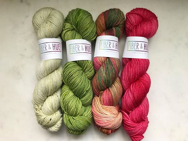 Some sneaky peaks of the Soldotna kits I'm getting to list!  These kits are made mostly of my OOAK skeins... skeins that are discontinued colors, didn't turn out quite right, unrepeatable or just not what I was going for but still pretty.  Four skein kits will make an XS-M (per pattern) and Six skein kits will make the L-3X (per pattern). I'm working on them now and hope to have them done by 11:30am PT. . #knitstagram #knitting #knittersofinstagram #fiberandhue #yarn #handdyed #handdyedyarn #kits #soldotnacrop #boylandknitworks #ooak