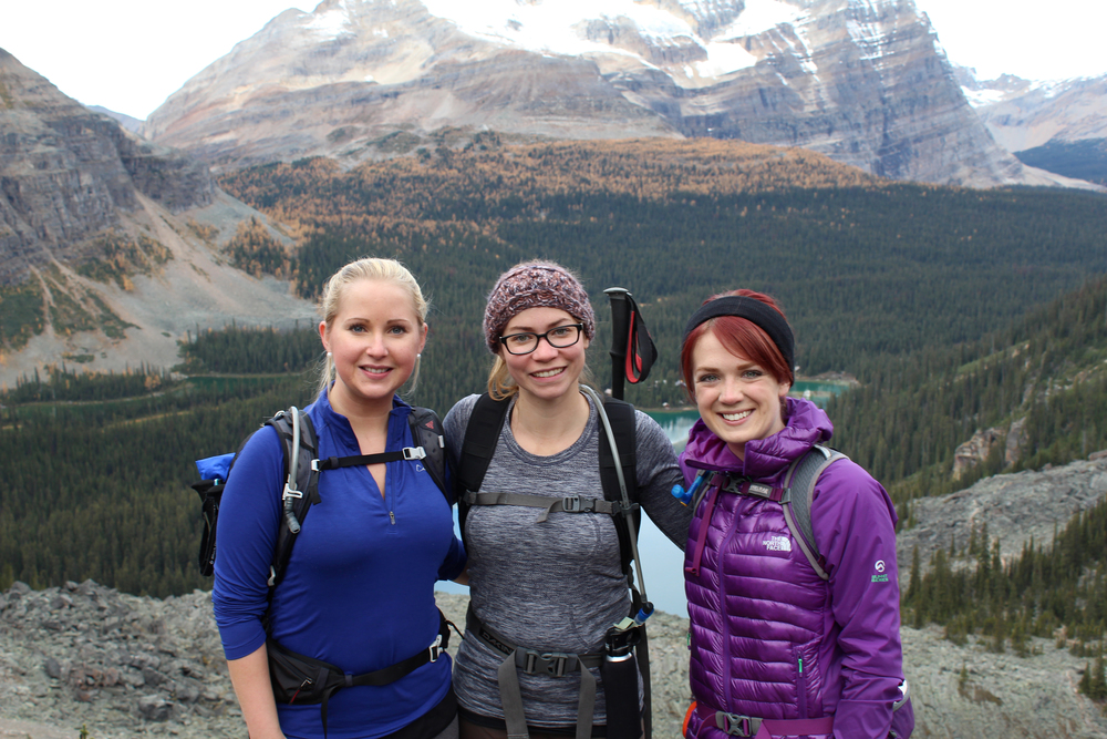 With my hiking buddies Anne (left) and Jenny (centre), and Lake O'Hara in the background. Jacket: The North Face from LiveOutThere.com; backpack: CamelBak from Outside Bike & Ski (Canmore)