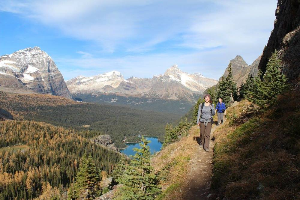 Hiking the Yukness Ledges with Lake O'Hara in the background, Yoho National Park, BC.